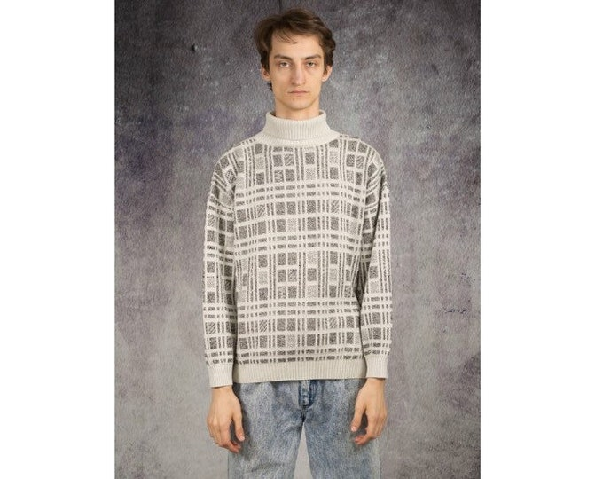 Vintage 90s geometric pattern graphic knit sweater for Vintage clothing fans