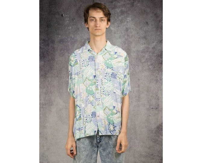Pastel colors artsy print collared shirt with short sleeves from the 90s for Retro Look Lovers