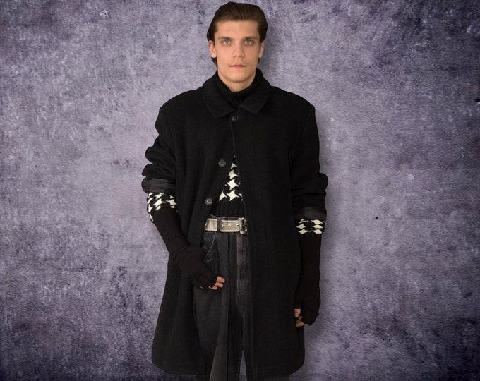 Elegant Vintage 90s Men's Black, Medium Length, Wool Blend Coat / menswear vintage clothing
