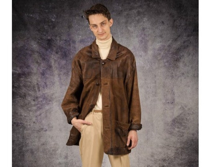 90s vintage brown real, heavy and soft leather grunge men's jacket / blazer / classic car coat / Old School Clothing by Mooha