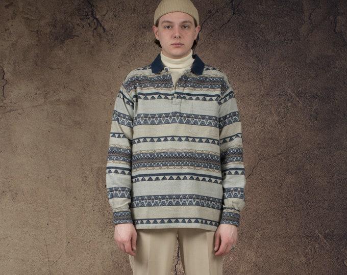 Vintage 90s polo neck men's cotton aztec pattern top • Vintage 1990s Mens vintage clothing by Mooha