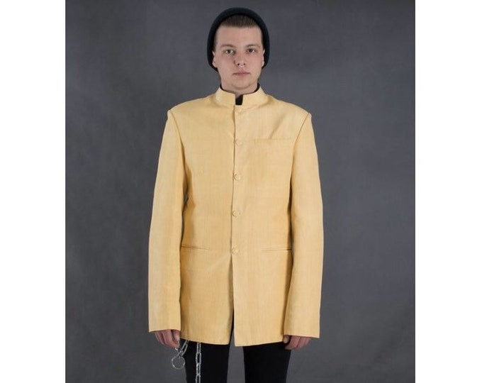 Vintage 90s buttermilk yellow Shantung Silk Jacket / blazer with stand up collar • menswear vintage clothing size M