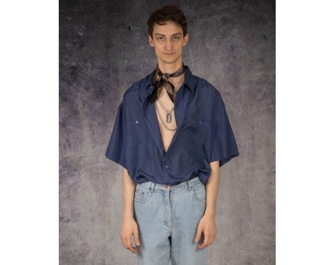 90s old school navy blue pure silk short sleeve silk collar button up shirt / MOOHA menswear