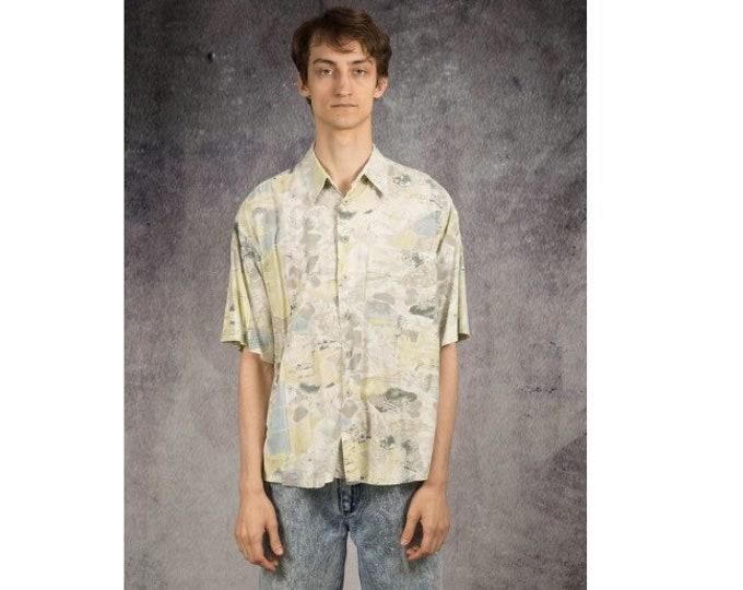 Men's Vintage 90s  short sleeve abstract graphic beige boho print collar shirt