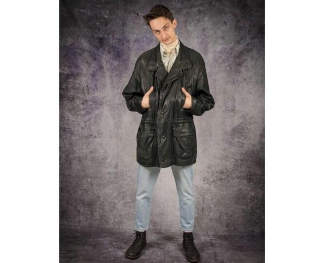 Vintage 90s real super soft dark gray leather, padded men's parka jacket for Vintage Clothing Connoisseurs