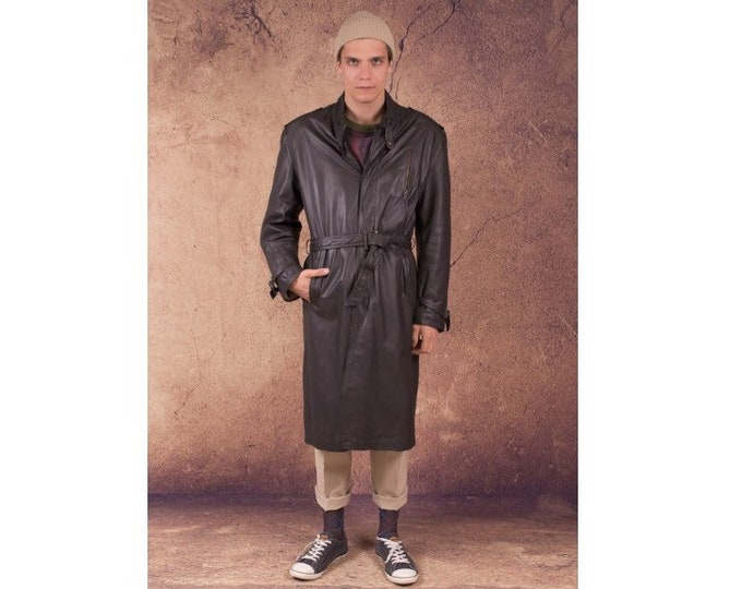 90s men's dark grey, Heavy Genuine leather trench coat size L for vintage clothing connoisseurs