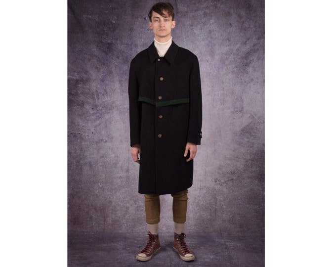 90s knee length, trench coat in casual style with unique details / menswear vintage clothing by MOOHA