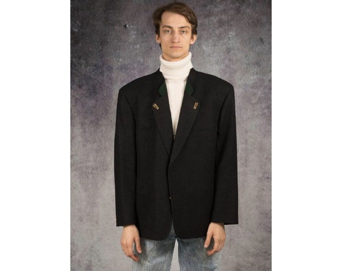 Retro 90s, classic, minimalistic, dark grey wool mens austrian blazer, jacket / vintage clothing by MOOHA