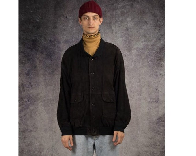 Retro 90s men's grunge, black, slouchy, suede jacket with buttons closure / Mooha Menswear