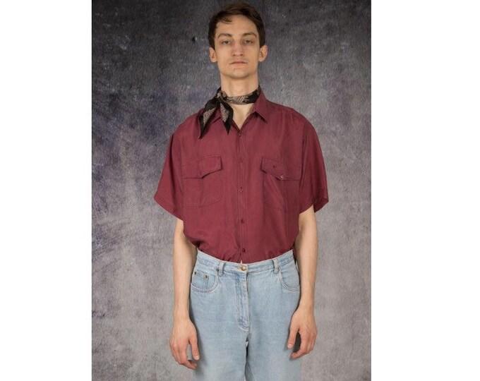 Old school 90s purple pure silk short sleeve silk collar button up shirt / MOOHA menswear