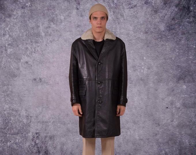 Vintage 90s Genuine heavy leather, black men's classic trench coat