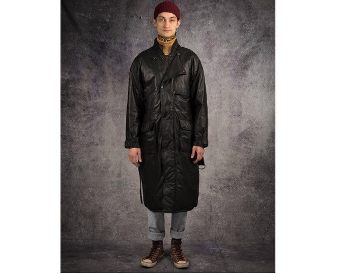 Retro 90s Genuine heavy leather, black men's classic coat with duck down filling / Vintage clothing by Mooha