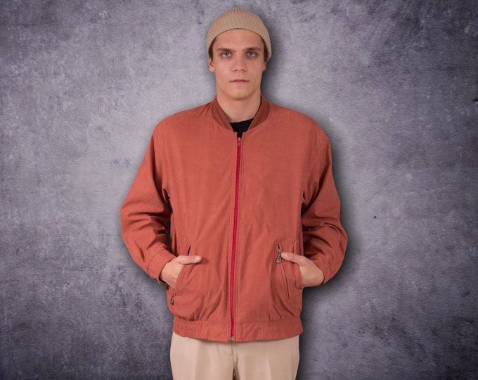 Men's Vintage 90s classic, rusty orange color, casual Bomber Jacket • vintage Clothing by moohamenswear •