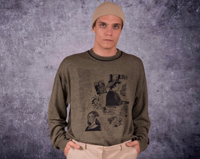 Carlo Colucci printed khaki sweatshirt Paul Gauguin painters series / pullover from the 90s • Vintage knit clothing • jumper•