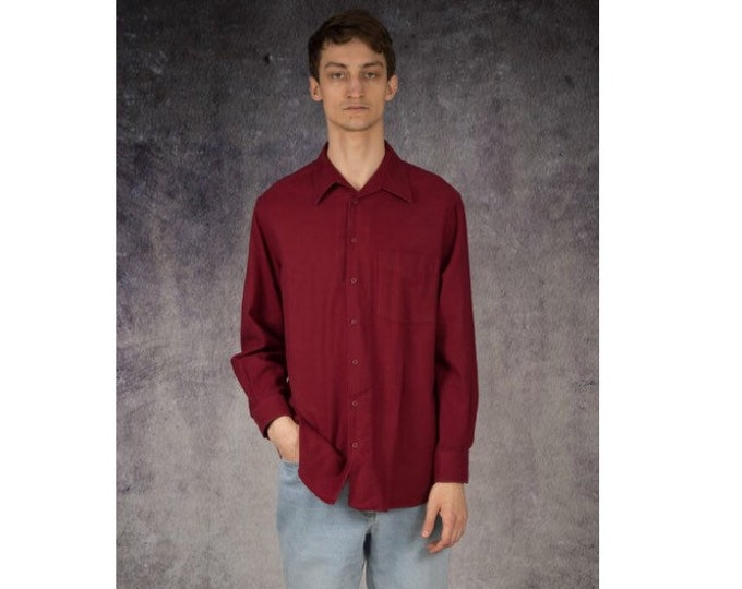 Mens vintage 90s long sleeve red button up  collared shirt /  Mooha Menswear