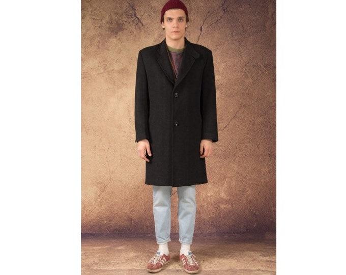Vintage 90s men's dark gray shevron, single breasted wool blend coat by Ted Lapidus / menswear vintage clothing