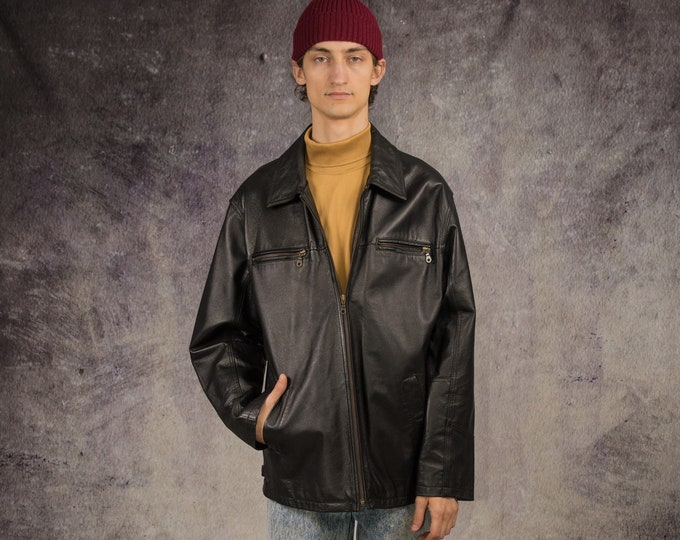 90s car jacket in motorcycle, grunge style, made of real leather in black color / Vintage Clothing by Mooha