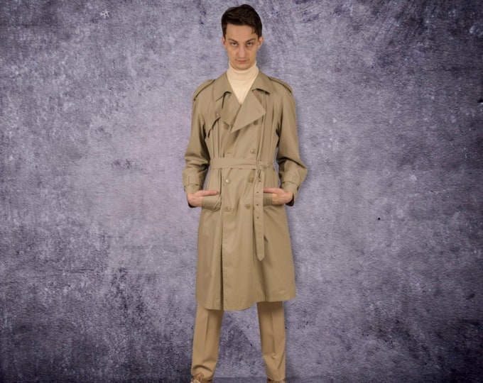 Vintage 90s men's beige, classic detective trench coat / menswear vintage clothing size M