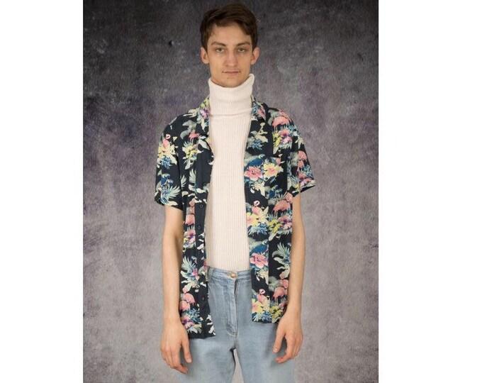 Men's Vintage 90s  short sleeve abstract botanic print collar shirt / Mooha Menswear