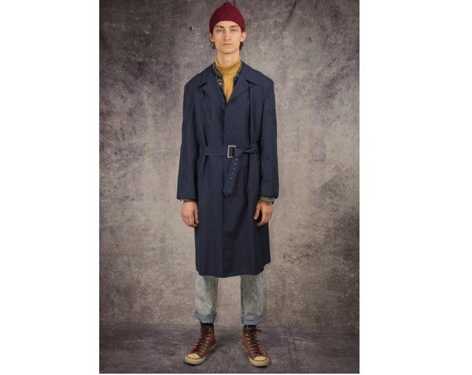 90s trench coat in detective style and navy blue color / menswear vintage clothing by MOOHA