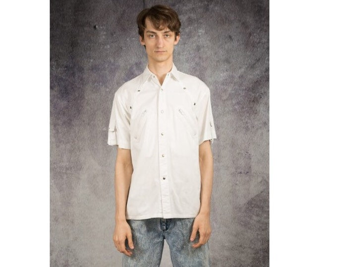 Mens vintage 90s short sleeve cotton utility white collar button up shirt  Vintage Short sleeve tee with studs