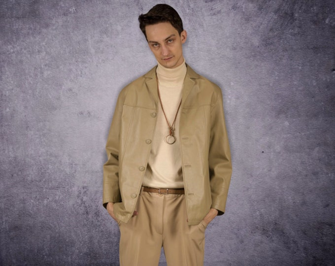 Vintage 90s beige real leather, classic  casual  men's car jacket