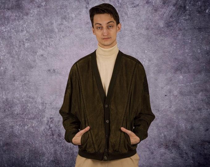 Men's grunge, khaki, slouchy, suede jacket / cardigan  from the 90s / Mooha Menswear