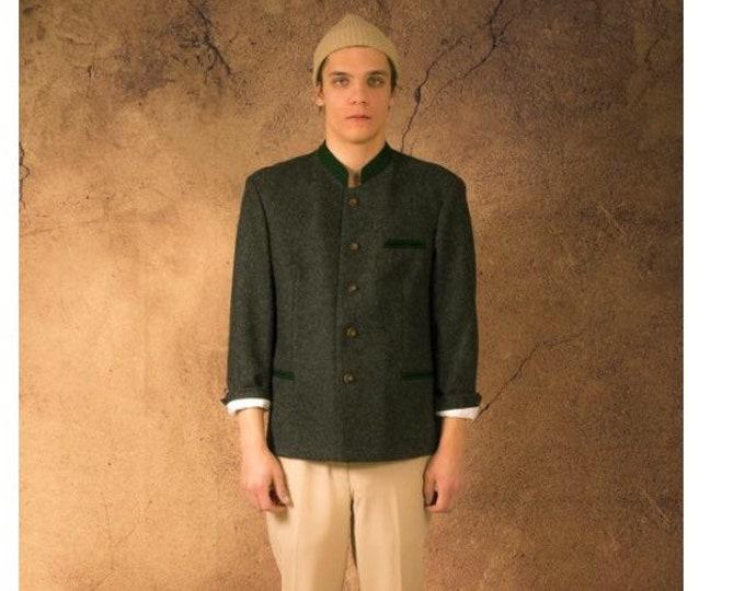 Vintage 90s dark grey wool Tyrol style mens Janker Jacket / blazer / Trachtenjanker, menswear vintage clothing