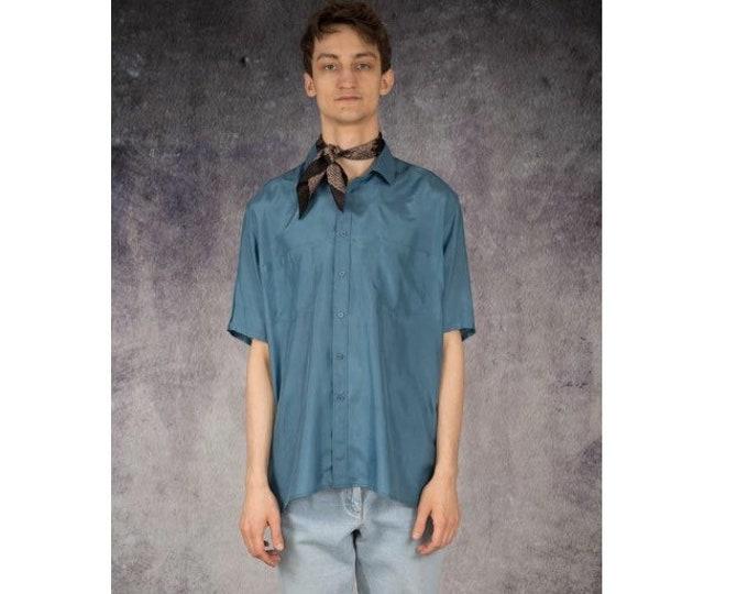 Beautiful 90s blue pure silk short sleeve silk collar button up shirt / MOOHA menswear