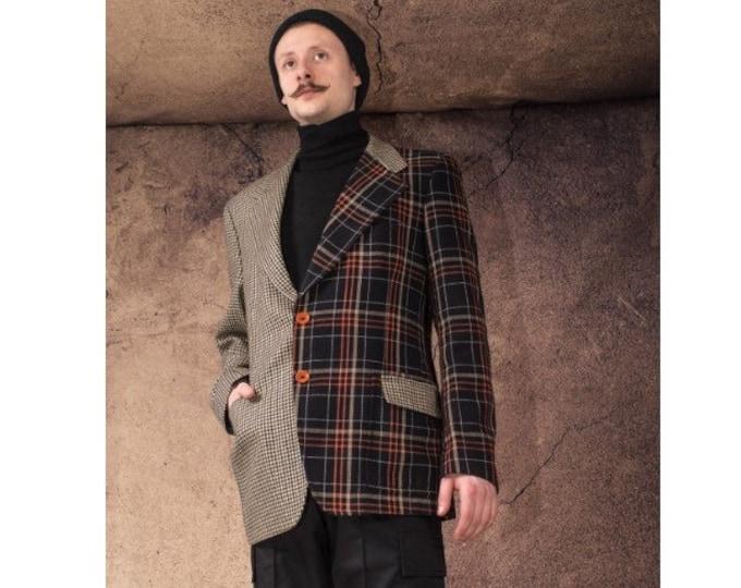Half and half remade Vintage 90s, checkered, wool minimalist men's blazer size L