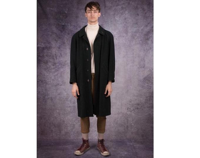 90s knee length coat in elegant style, wool blend in a very dark green color / menswear vintage clothing