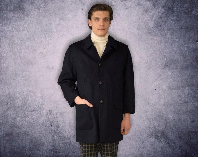 Vintage 90s men's navy blue, pure new wool short coat / menswear vintage clothing