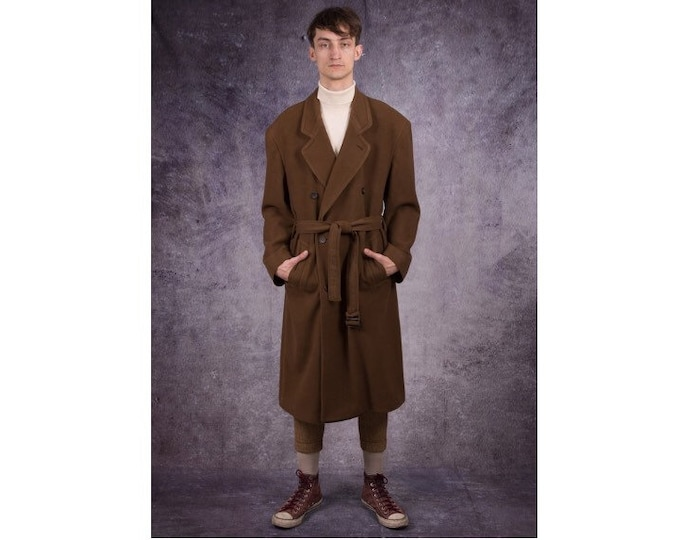 90s wool coat in elegant style and brown color, retro men's overcoat / menswear vintage clothing by Mooha