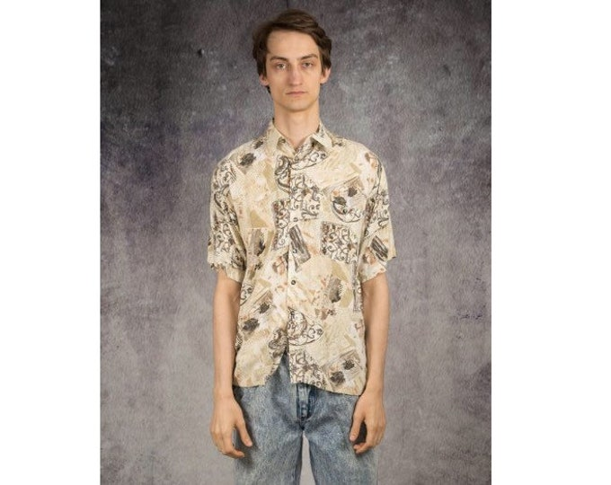 Beige, old school collared shirt with short sleeves from the 90s for vintage clothing fans