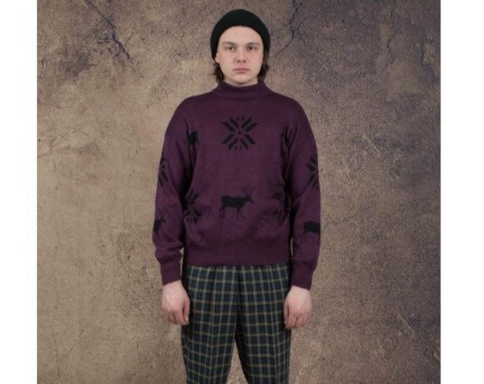 Vintage 90s patterned maroon graphic mockneck sweater • Vintage clothing size S/M • menswar vintage clothing