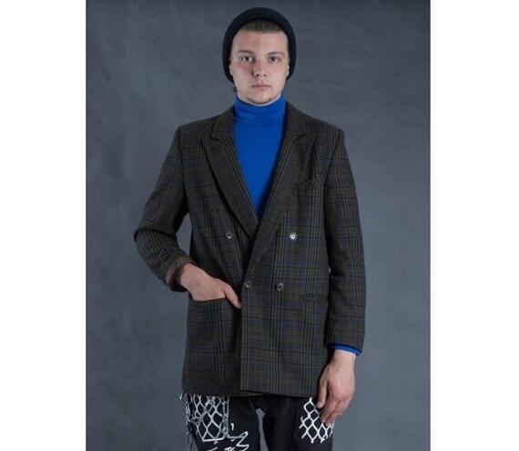 Men's plaid blazer, vintage 90s minimalist men's c