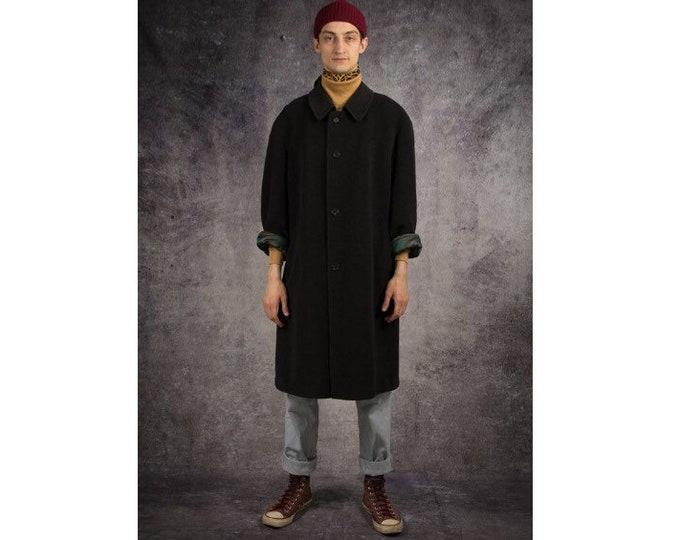 Retro 90s men's minimalist, casual, classic dark gray, rich wool coat / menswear vintage clothing