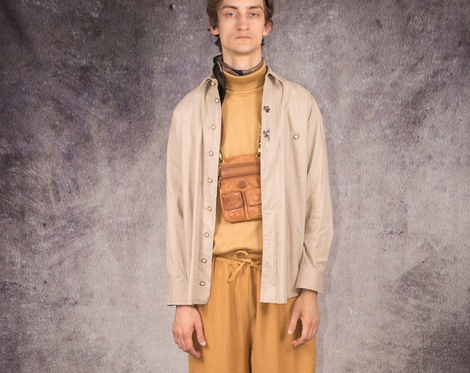 90s long sleeves Tyrol shirt in beige color with fancy buttons and details / Mooha Menswear