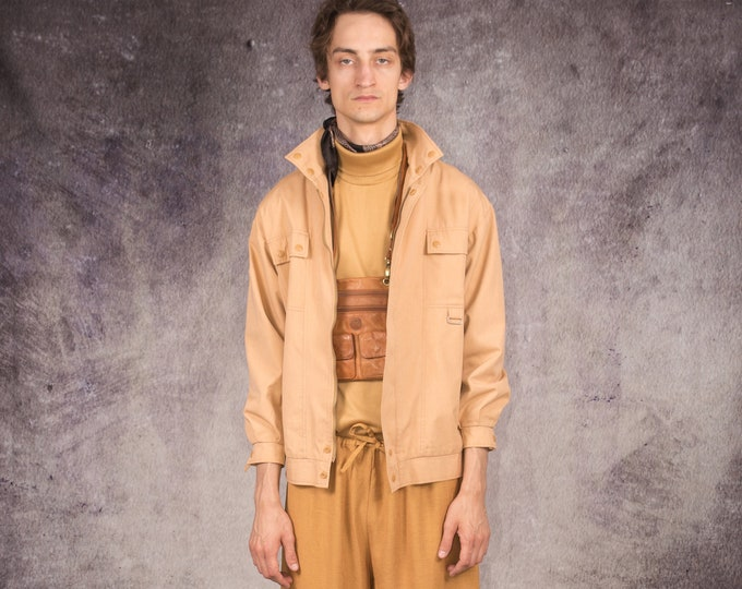 90s bomber jacket made of leather in peach color for vintage clothing fans /  MoohaMenswear