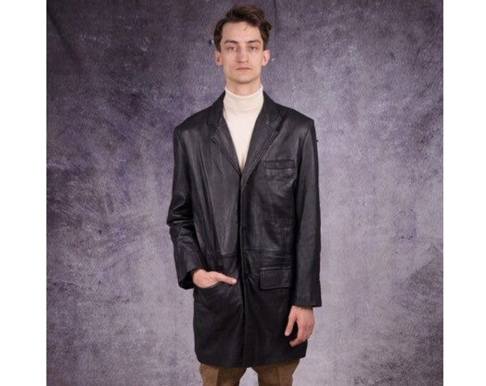 90s car coat, long blazer in motorcycle style, made of real leather in black color / Retro Clothing by Mooha