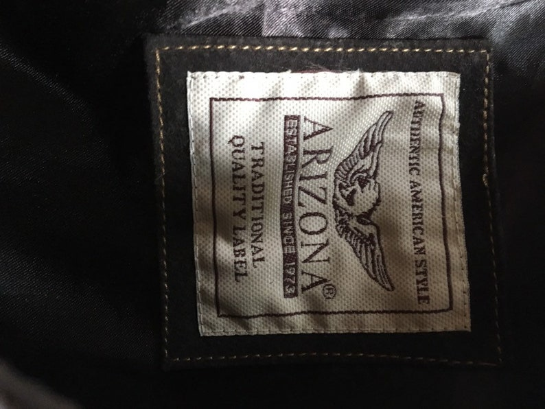 Western style classic  casual  men/'s collar shirt Vintage 90s brown real leather