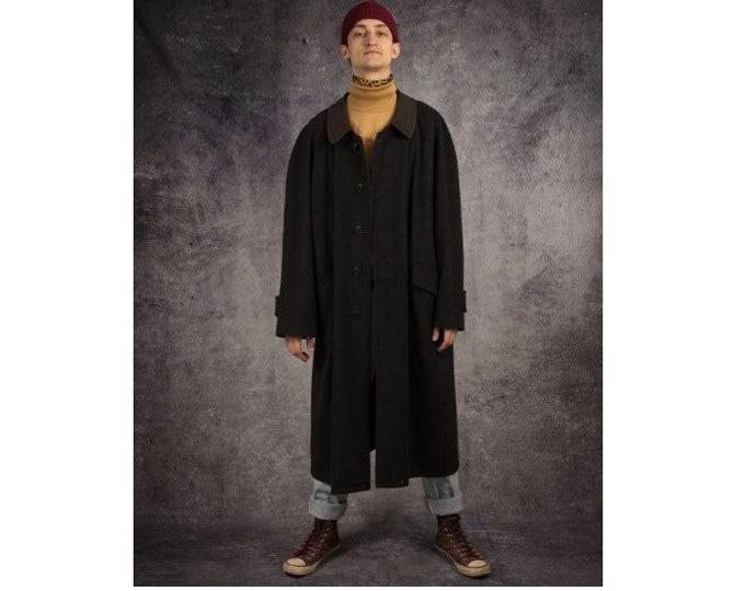 Old school 90s men's minimalist, casual, classic dark gray, wool blend coat / menswear vintage clothing