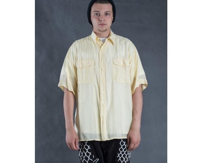 Mens vintage 90s short sleeve buttermilk color silk collar button up shirt  Vintage yellow Silk Short sleeve tee