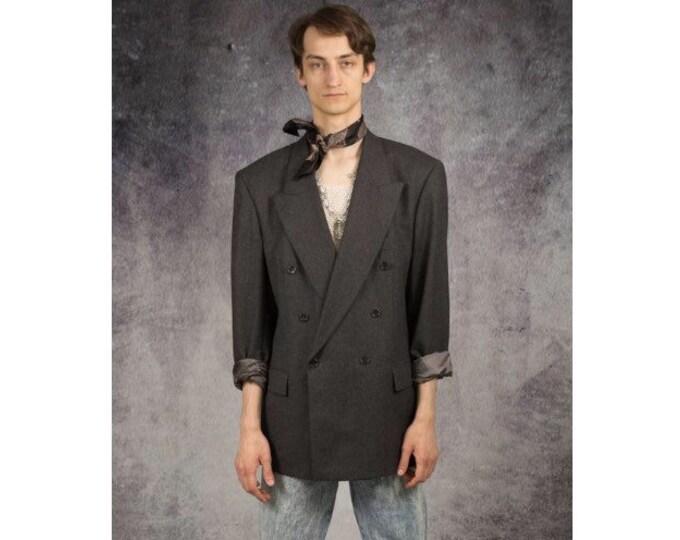 Vintage 90s double breasted, classic, minimalistic, dark grey wool mens blazer, jacket / vintage clothing by MOOHA