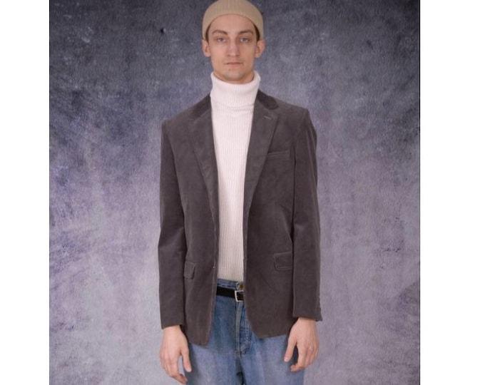 Vintage 90s minimalist gray corduroy blazer, cord jacket / vintage menswear by MOOHA