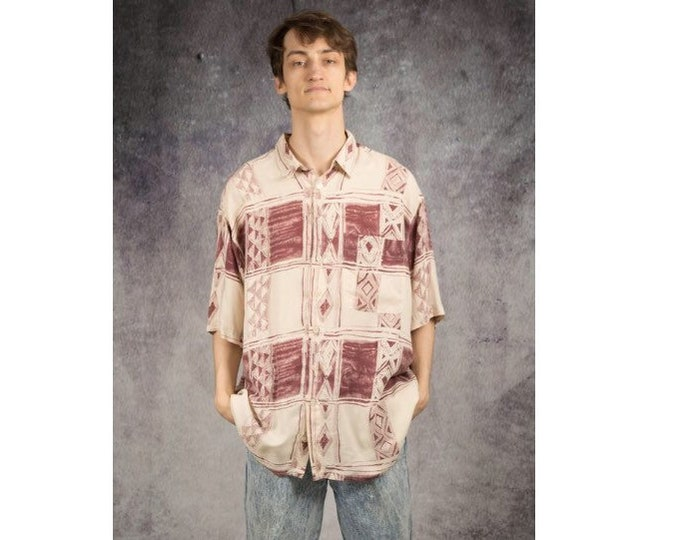 Men's Vintage 90s  holidays shirt with geometric print, collar and short sleeves