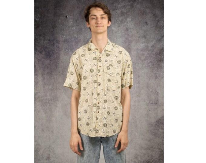 Vintage 90s men's short sleeve abstract graphic beige print collar shirt