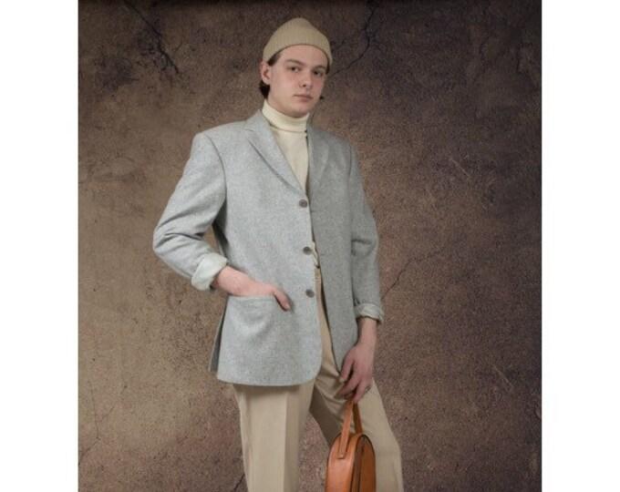 Light blue men's blazer, vintage 90s minimalist single breasted men's wool jacket