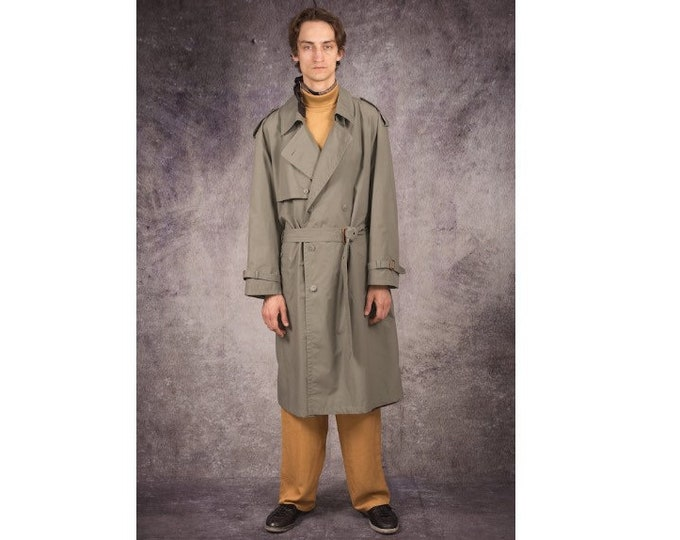 90s long trench coat in detective style and grey color / menswear vintage clothing size XL