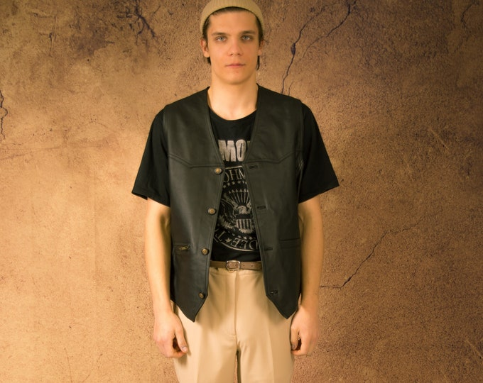 Vintage 90s real leather, classic black  minimalistic casual men's waistcoat